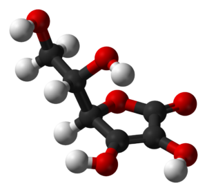 L-ascorbic acid - a three-dimensional view 3D
