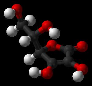 L-ascorbic acid - a three-dimensional view 3D