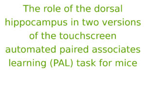 The role of the dorsal hippocampus in two versions of the touchscreen automated paired associates learning (PAL) task for mice