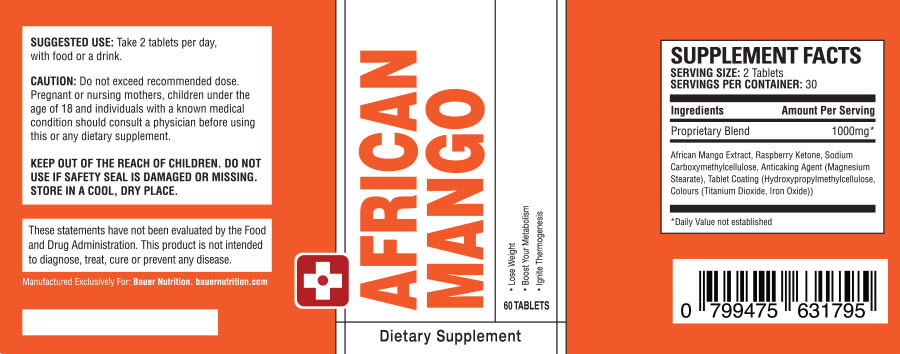 Label: BAUER Nutrition ™ - African Mango