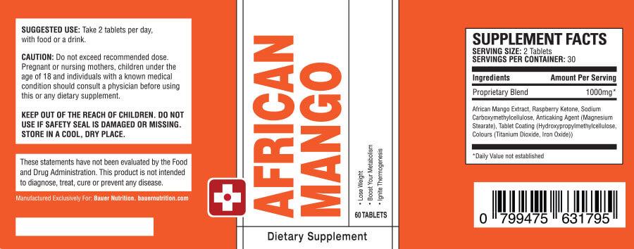 Label: BAUER Nutrition ™ - African Mango