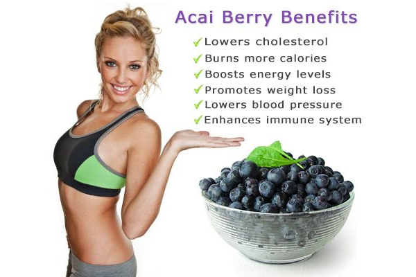 Acai berry benefits: Lowers cholesterol, burns more calories, boosts energy levels, promotes weight loss, lowers blood pressure, enhances immune system.