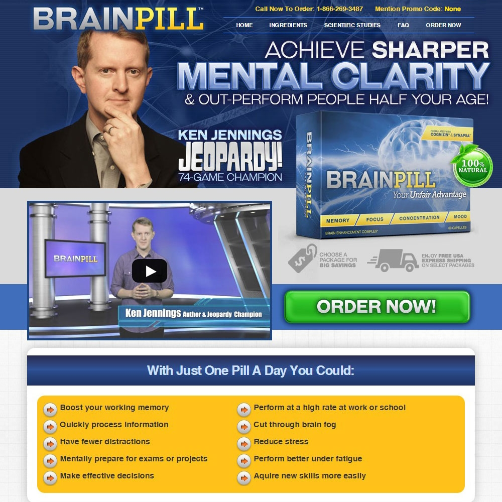 Brain Pill ™ - Ken Jennings Jeopardy - 74-Game Champion - Achieve Sharper Mental Clarity