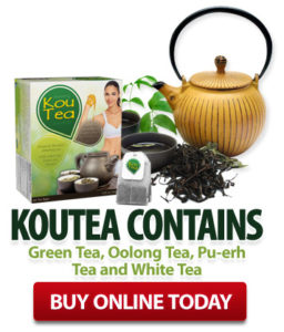 KouTea™ contains Green Tea, Oolong Tea, Pu-erh Tea and White Tea