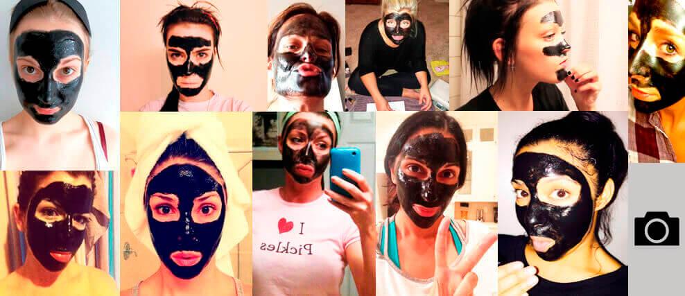 Black mask applied on face