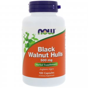Now - Black Walnut Hulls, 500 mg, 100 Capsules